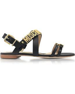 Black Leather Gold-Buckles Flat Sandal