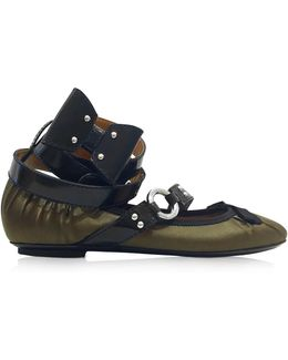 Military Green Satin Ballerina W/patent Leather Ankle Wrap