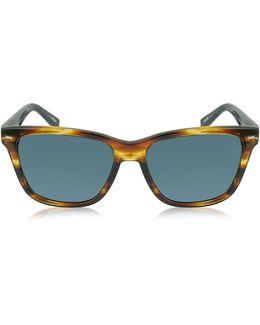 Ez0002 50v Havana & Blue Acetate Men's Sunglasses