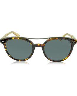 Ez0006 52a Havana & Gold Acetate Round Men's Sunglasses