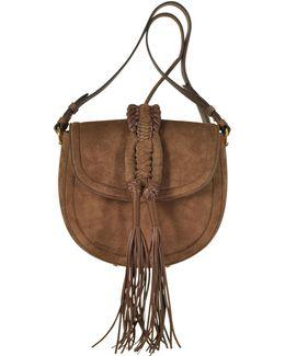 Ghianda Knot Suede Chocolate Saddle Bag