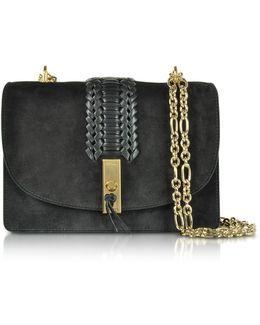 Black Suede Ghianda Chain Shoulder Bag W/braid
