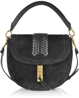 Black Suede Ghianda Top Handle Saddle Bag