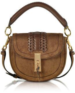 Chocolate Suede Ghianda Top Handle Mini Saddle Bag