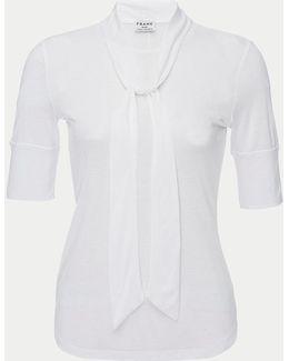 3/4 Sleeve Tie Neck Top