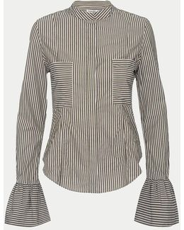 Striped Fitted Poplin Blouse