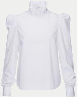 Ruffle Neck Poplin Shirt