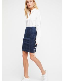 Denim Lace-up Skirt