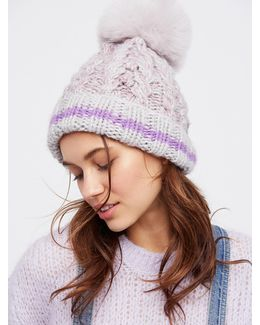 Happy Trails Stripe Pom Beanie