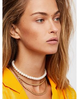 Maya Pearl Chain Layered Collar