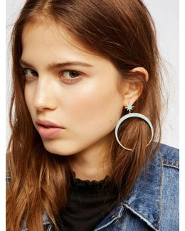Raw Stone Crescent Hoops