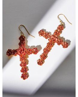 Rose Cross Earrings