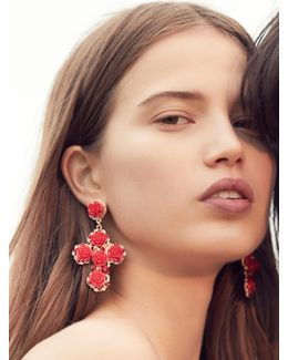 Rose Cross Statement Earrings