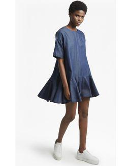 Summer Chambray Flutter Sleeve Dress