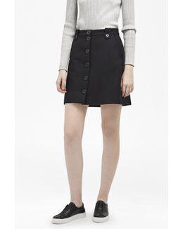 Flight Twill Button Through Skirt