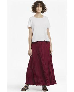 Classic Crepe Pleated Maxi Skirt