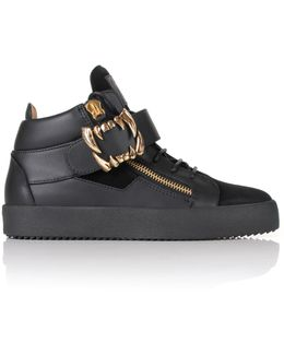 Tremors Fang Buckle Mid-top Sneakers Black/gold