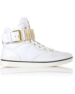 Metal High Top Trainers White/gold