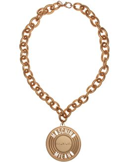 Tin Can Medallion Necklace Gold