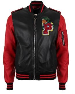 Perceive Leather Bomber Jacket Black/red