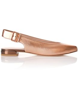 Metallic Leather Heidi Sling Back Shoes Rose Gold Nappa