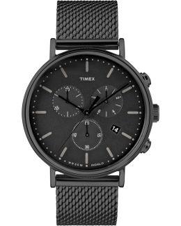 Fairfield Chrono Mesh Watch Black/black
