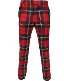 Formal Tartan Trousers White/black/red