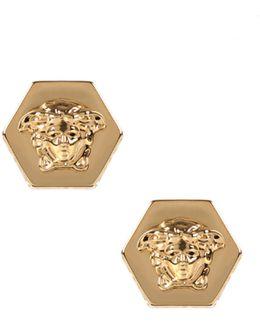 Greca Hexagon Medusa Stud Earrings Gold