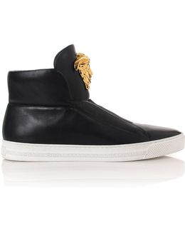Palazzo Leather High-Top Sneakers
