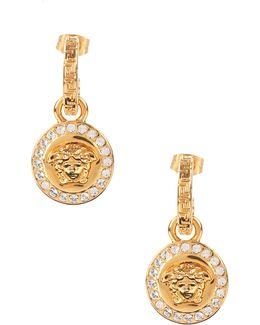 Medusa Head Drop Earrings With Crystals Gold
