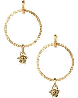 Medusa Head Hoop Earrings Gold