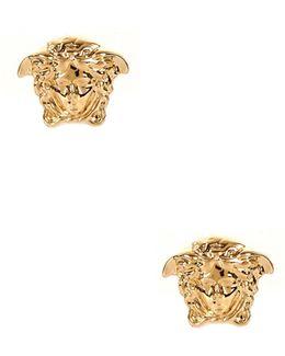 Small Medusa Head Earrings Gold