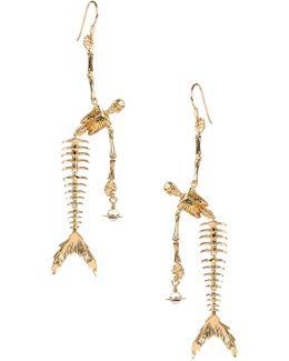 Ariel Skeleton Earrings Gold