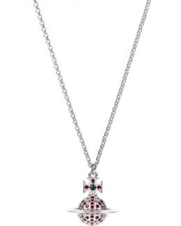 Jack Small Orb Pendant Rhodium/montana/red