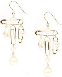 Jordan Long Earrings Gold/pearl