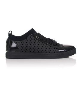 Perforated Orb Sneaker With Sock Black/black