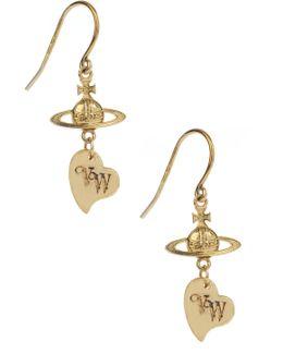 Sterling Silver Heart Earrings Gold