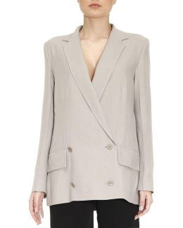 Double-breasted Silky Unlined Jacket