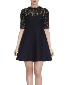 Flared Dress With Floral Lace And 3/4 Sleeves