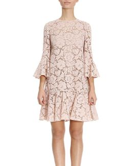 Short Dress In Floral Lace With 3/4 Sleeves And Frill