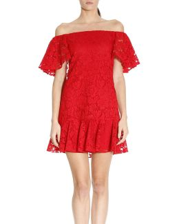 Short Dress In Floral Lace With Wide Frill Sleeves