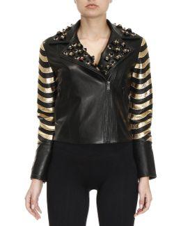 Studded Leather Jacket With Metallic Panels