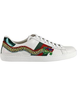 New Ace Soft Leather Sneakers With Side Web Bands And Dragon Embroideries