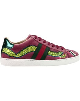 Velvet New Ace Sneaker With Side Web Bands And Dragon Embroidery