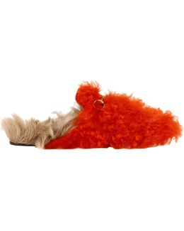 Princetown Gitana Slippers With Burnished Horsebit And Bicolor Fur