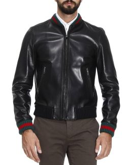 Lambskin Bomber Jacket With Virgin Wool Finishes And Web Detail