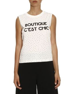 Sleeveless Shirt With Multi Rhinestones And Boutique C'est Chic Writing