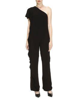 Women's Black Viscose Jumpsuit