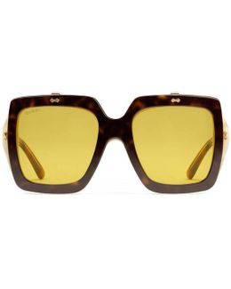 Oversize Square-frame Acetate Sunglasses