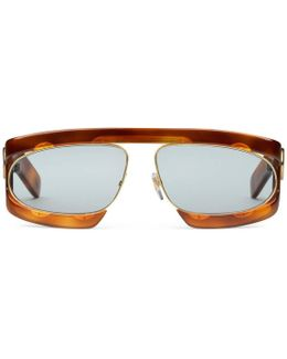 Rectangular-frame Acetate Sunglasses